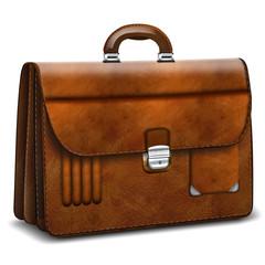 Aktentasche, Aktenkoffer elegant Leder, freigestellt