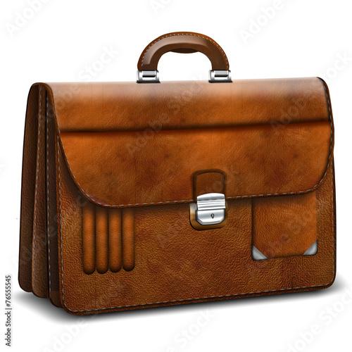 Aktentasche, Aktenkoffer elegant Leder, freigestellt - 76555545