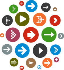 Cloud set of round modern arrow icons.