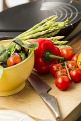 Fresh salad ingredients waiting to be prepared