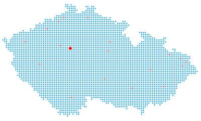 Tschechien gepunktet (inkl. wichtiger Städte)