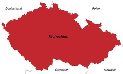 Tschechien in rot (beschriftet)