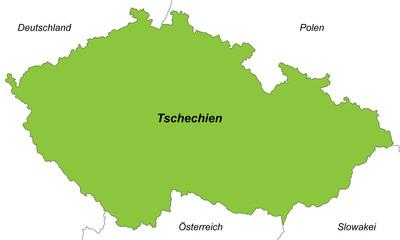 Tschechien in grün (beschriftet)