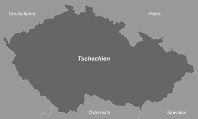 Tschechien in Graustufen (beschriftet)