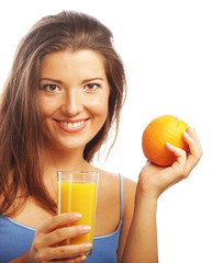 Woman holding orange juice