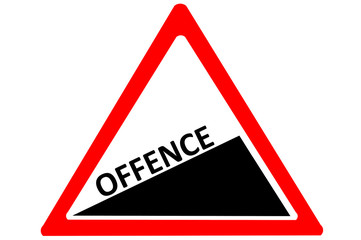 Offence crime increase warn roadsign isolated on white