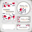 Wedding invitation cards and tag, wedding set red flowers