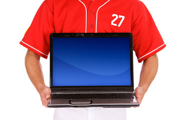 Baseball: Player Holds Up Laptop With Blank Screen