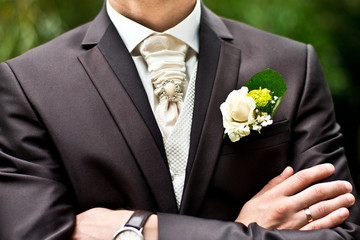 groom and wedding boutonniere