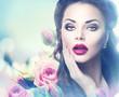 Retro woman portrait in beauty pink roses