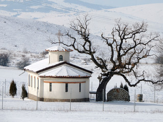 Small Church In The Winter Countryside