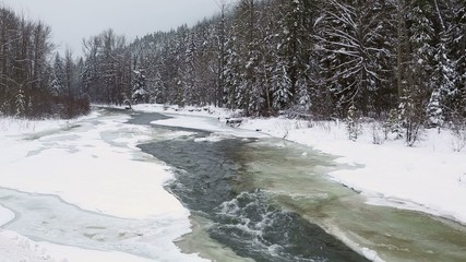 Mountain River in Winter