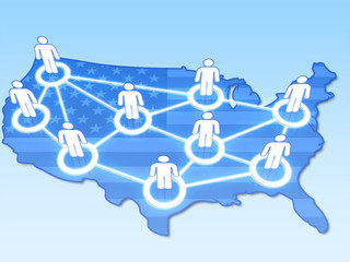 Social network in USA concept 3D on blue background.