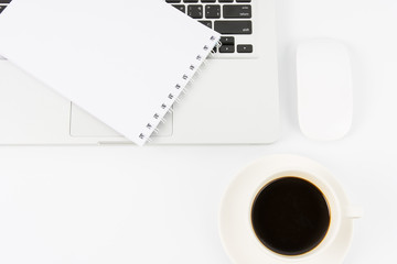 Notebook laptop and coffee cup