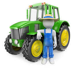 3D white people. Farmer with tractor
