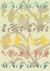 Pattern with decorative plants