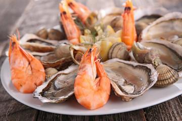 fresh oyster and shrimp