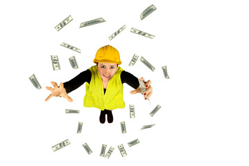 blue collar worker wages money flying dollar on white background