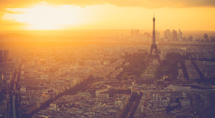 Sunset at Eiffel Tower in Paris with vintage filter