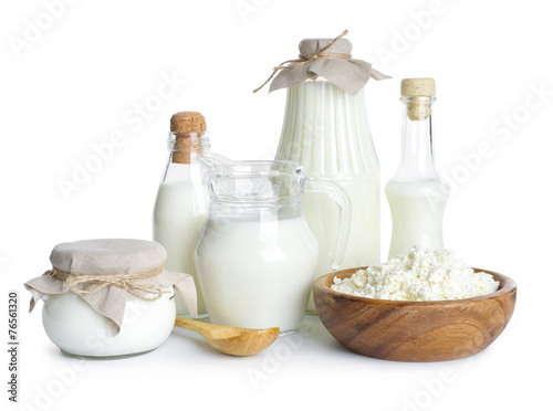 Leinwandbild Motiv Pure dairy products isolated on white background