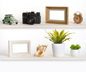 Wooden shelves with travel memory related objects