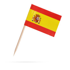 Miniature Flag Spain.Isolated on white background
