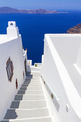 White architecture details of Santorini island in Greece