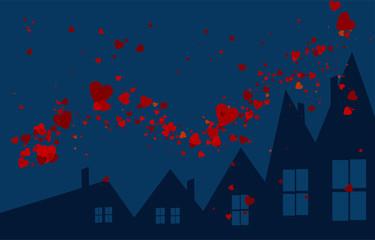 notte con cuori nel cielo