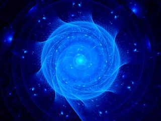 Blue glowing spirals in cyberspace