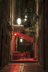 Night view of Dubrovnik narrow streets, cafes and restaurants