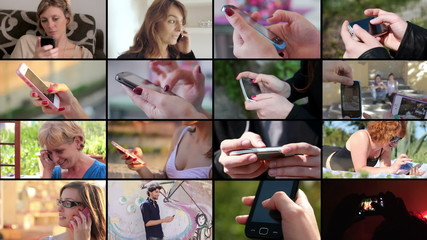 People using mobile smart phone montage