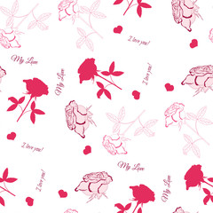 Seamless pattern with pink rose-04