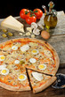 Fresh Oven Baked Pizza with Egg, Sausage, Rustic style