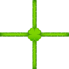 Light Green Clover Double Cross Ribbon