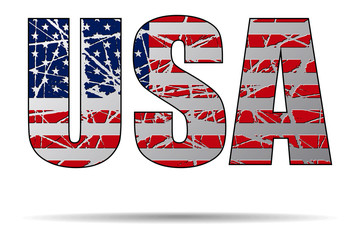 Letters USA with Flag Background