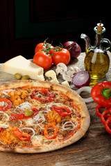 Tradition Mexican pizza with chili, beef and onion