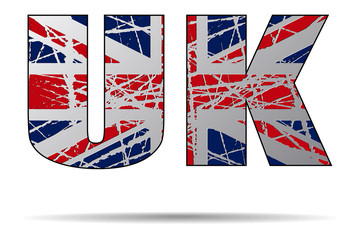 Letters UK with Flag Background