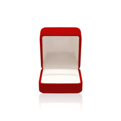 Empty red box for ring on a white background