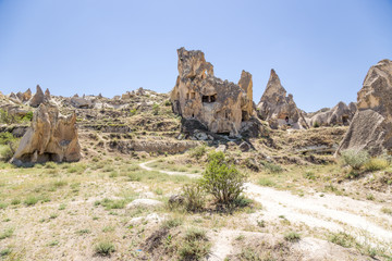 Cappadocia. Picturesque cliffs with caves in Goreme Park