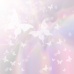 Soft pastel background with swarm of butterflies