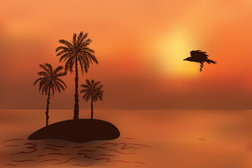 Tropical island with palm trees at sunset. Crow flies rest.