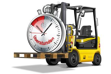 Gabelstapler gelb, scharz,mit Uhr -  Überstunden, freigestellt