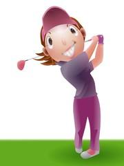 ゴルフ ゴルファー 女性 イラスト