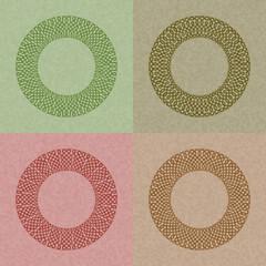 set of four circle vintage frame