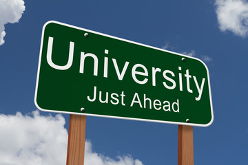 University Just Ahead Sign