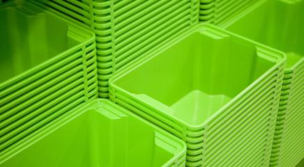 boites de rangement verte en plastique