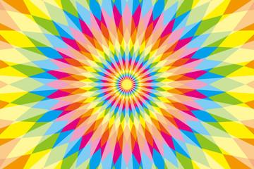 背景,素材,壁紙,虹色,七色,カラフル,ラテン風,エスニック風,エスニック模様,ひし形,菱形,放射状,メキシコ風,サイケデリック
