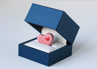 Red Crackled Heart inside a Blue Jewelry Box