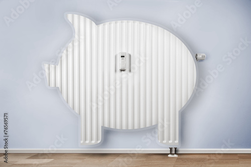 Leinwanddruck Bild Sparschwein heizung