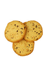 cookies with flax seed and sesame - isolated object on white